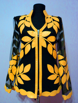 V Neck Yellow Leather Leaf Jacket Womens All Colors Sizes Lightweight Sh... - $115.00+