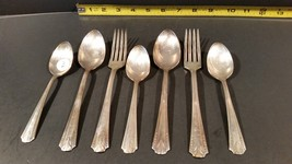 Antique 3 spoons 2 soup 2 dinner forks - Vernon Silver Plate - 1931 Casino  - $25.00