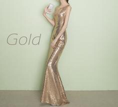 ROSE GOLD One Shoulder Sequin Dress Women Plus Size Mermaid Maxi Sequin Dresses image 7