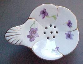 tea bag holder porcelain w/violets vintage still has paper label beautiful - $7.99