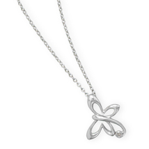 Sterling Silver Chain Necklace with Diamond Chip Accented Butterfly Pendant - $92.95