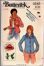 Uncut 1970s Size 16 Bust 38 Western Shirt Transfer Butterick 3543 Patter... - $6.99