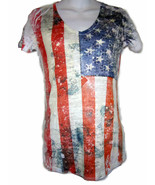 Women's American Flag T-Shirt Red White Blue Rhinestones 4th of July new S M L - $16.00