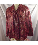 Bamboo Traders Red Gold Faux Snakeskin Reptile Jacket Rocker 2X - $19.31