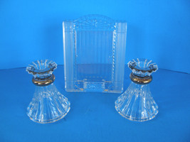 SET OF 2  CLEAR GLASS CANDLE STICK HOLDERS AND 1 CRYSTAL PICTURE FRAME M... - $14.01