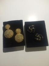Avon Earrings Sesitive Skin Tailored Button & Beaded Drop Nib 2 Pairs - $9.74