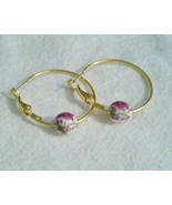 1.5 Inch Gold Plated Rose Porcelain Hoop Earrings  - $14.99
