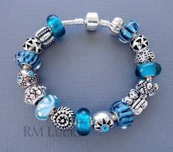 European style Charm Bracelet. Emerald Lampwork Murano Glass beads.  S17 - $23.55