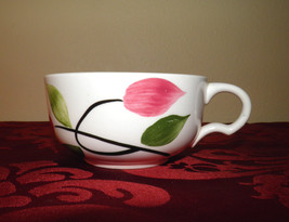 1950s Southern Blue Ridge Pottery - China Coffee - Tea Cups - Pink & Green Leaf  - $7.00
