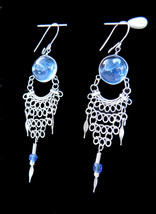 EARRINGS - Murano Glass Gem & Alpaca Silver Wire - Chainmail Style -2 Se... - $10.00