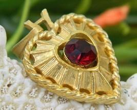 Vintage Heart Pendant Valentine Goldtone Ruby Red Rhinestone - $15.95