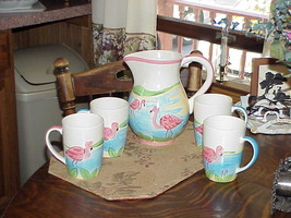 Tall Pink Flamingo Pitcher & Mug Set Tropical Mug Le Gourmet Chef Hand Painted  - $158.39