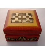 Wood Trinket Jewelry Keepsake Box Enchanted World Of Boxes Gold Floral D... - $20.00