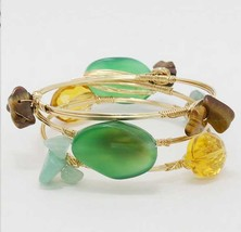 BOURBON AND BOWETIES  INSPIRED 3-LAYER OVAL STONE ACCENTED BANGLE BRACEL... - $19.99