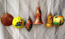 6 pc pack Christmas tree hanging decoration ornament paper mache ball bell - $46.08