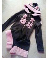 Track suit Grey Jumper SET Pink Faux Fur Cat Ears Hoodie Top + Hot Short... - $258.00