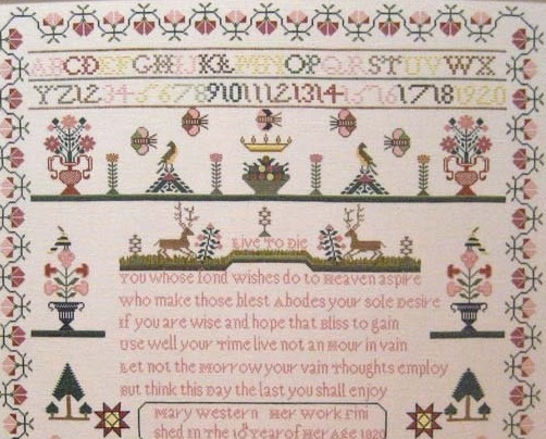 Mary Western 1820 Antique Sampler Reproduction pattern Samplers Revisited