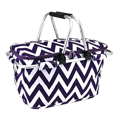 scarlettsbags Chevron Print Metal Frame Insulated Market Tote Purple