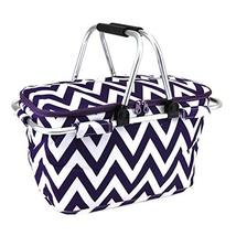 scarlettsbags Chevron Print Metal Frame Insulated Market Tote Purple - €23,98 EUR