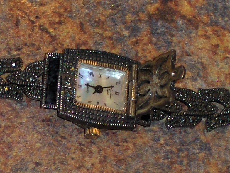 Main Line Watch 925 Sterling Silver Marcasite Mother of Pearl Face OIT