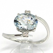18K WHITE GOLD BAND RING AQUAMARINE 2.00 OVAL CUT & DIAMONDS, MADE IN ITALY image 2