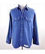 Big Ben Blue Denim Pearl Snaps Long Sleeve Shirt Mens Sz L - $24.18