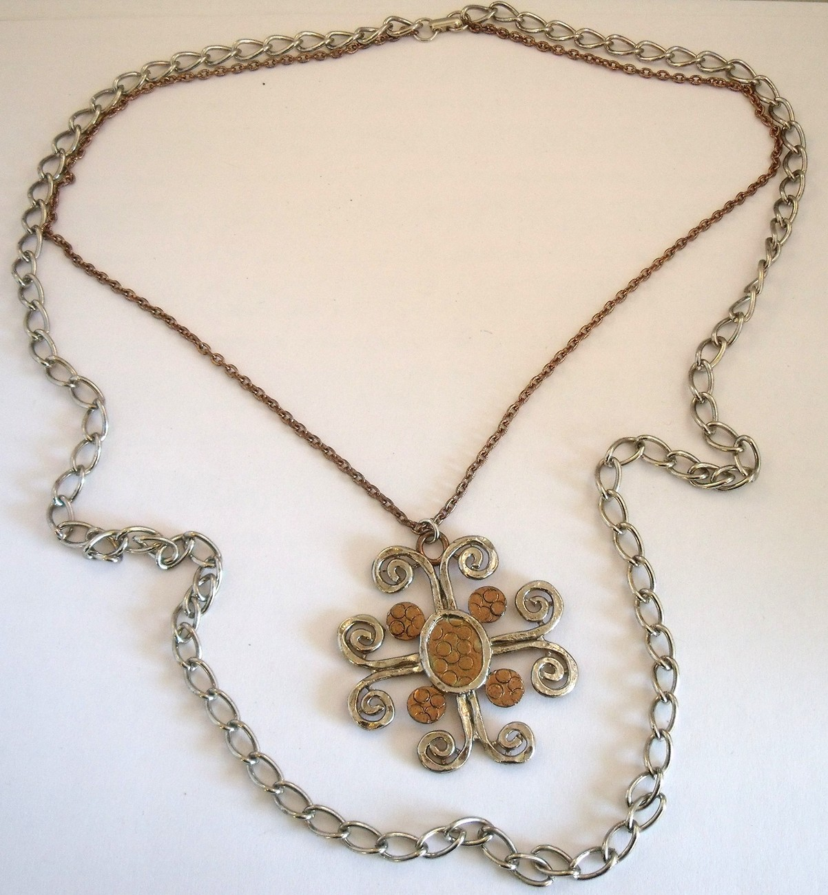 Vintage seventies modernist  copper and silver tone signed ART pendant necklace.