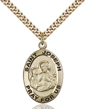 14K Gold Filled St. Joseph Pendant 1 x 5/8 inch with 24 inch Chain - $127.71