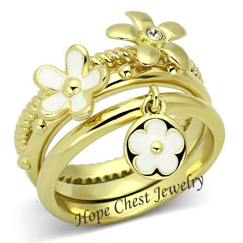 WOMEN'S GOLD TONE STAINLESS STEEL 3 CRYSTAL FASHION STACKING RING SET SIZE 5