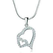 925 Sterling Silver Diamond Accent Double Open Heart Love Pendant Necklace  - $19.99