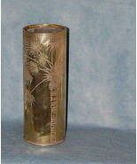 Antique Victorian Brass Anglo Japanese Acid Etched Brass Vase Palm Tree ... - $275.00