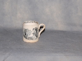 Antique English Creamware Black Transferware Child's Mug Elaborate Lands... - $195.00