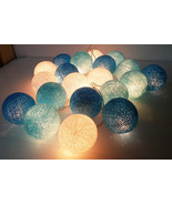 string lights blue cotton ball 20 party patio fairy decor wedding handmade - $11.72 CAD