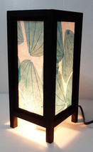 art blue leaves decor style bedside table lamp ... - $12.00