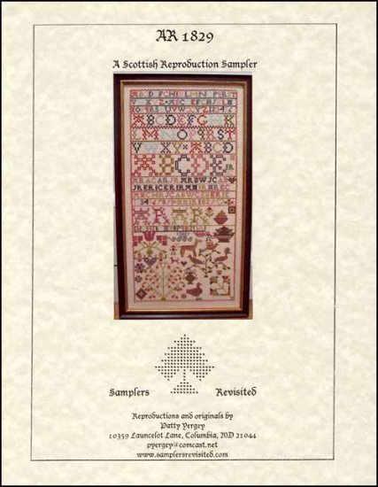 AR 1829 Antique Sampler Reproduction cross stitch chart Samplers Revisited