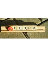 Scrabble Tile Bingo Marker Desk Nameplate Name Plate Custom Hand Made Ha... - $8.00