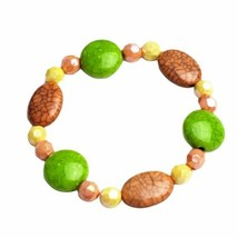 Pink Green Yellow Beaded Stretch Bracelet Handmade Handcrafted Costume Jewelry - $9.99