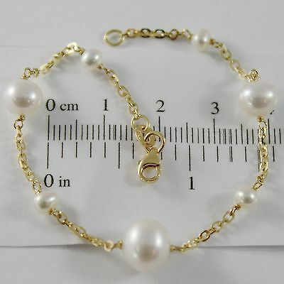 18K YELLOW GOLD BRACELET 7.1 INCHES SQUARED CHAIN & WHITE PEARL MADE IN ITALY