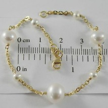 18K YELLOW GOLD BRACELET 7.1 INCHES SQUARED CHAIN & WHITE PEARL MADE IN ITALY image 1