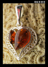 Authentic BALTIC AMBER HEART Pendant in STERLING Silver - $65.00