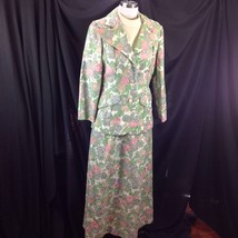 70s  Wide Collar Pastel Floral Jacquard 2pc Easter Suit Maxi Dress Sprin... - $84.15