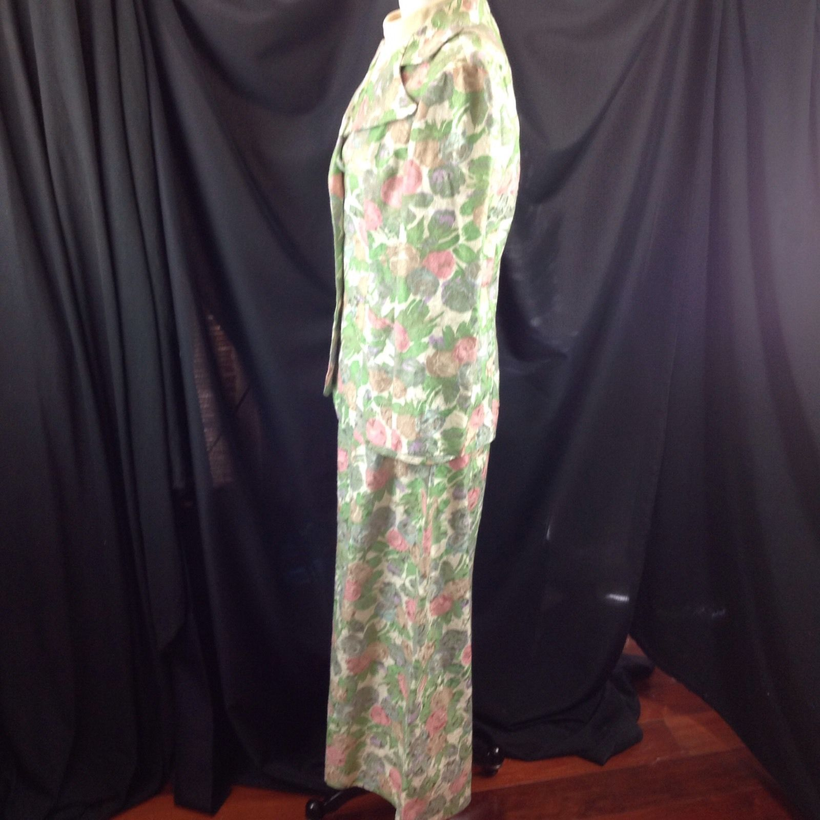 70s  Wide Collar Pastel Floral Jacquard 2pc Easter Suit Maxi Dress Spring 6/8