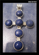 Large LAPIS LAZULI CROSS Pendant in STERLING Silver - 1 3/4 inches - £64.19 GBP