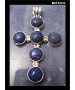 Large LAPIS LAZULI CROSS Pendant in STERLING Silver - 1 3/4 inches - $79.95