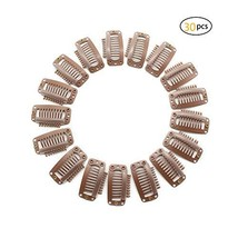 """Dofash 30Pcs 9-Teeth 3.2Cm/1.26"""" Snap-Comb Wig Clips With Rubber For Hair Extens"""