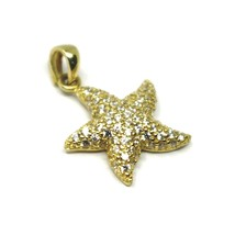 SOLID 18K YELLOW GOLD PENDANT STARFISH STAR WITH CUBIC ZIRCONIA 16mm 0.63 inches image 1