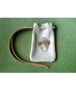 Leather pouch, handmade, light grey with light brown drawstring - $5.20