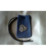 Leather pouch, handmade, blue with black drawstring - $5.20
