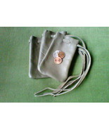 3 Leather pouches - handmade, light grey with grey drawstring - $19.31