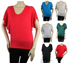 Jersey Loose Fit Scoop Neck Short Sleeve DOLMAN TOP  Stretchy  Casual Sh... - $13.90+